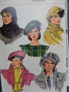 Uncut Vogue Hat Pattern 9454 Womens Large Beret and Hood Variety of Lined Hats with Bands All Sizes 22 to 24 Included French Hat, Vogue Sewing Patterns, Pattern Sewing, Easy Sewing Projects, Sewing Ideas, Vintage Vogue, Vintage Hats, Vintage Fashion, Vintage Dress Patterns