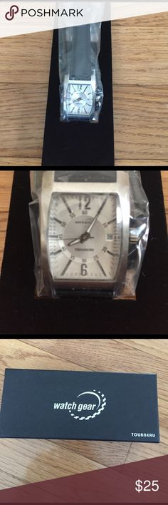 Watch gear Watch Brand new watch with silver face and black strap Tourneau Accessories Watches