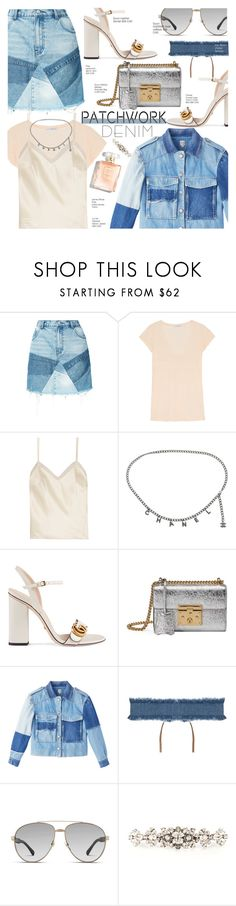 """Denim Patchwork!"" by voguefashion101 ❤ liked on Polyvore featuring PRPS, James Perse, Halfpenny London, Chanel, Gucci, 8 Other Reasons and Dolce&Gabbana"