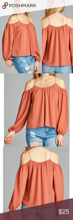 Open Cold Shoulder top Blouse Spring Summer Dusty Salmom  Sorry, NO TRADES  Price firm unless bundled   Save money and bundle!  Save 10 percent on any bundle of 2 or more items! Active  Tops Blouses