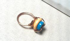 Fashion Button and Blue Stoneware Copper Wire by Justatishdesigns