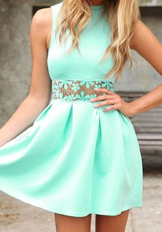 Give yourself a break from LBDs and don this mint dress with platform pumps and a clutch.