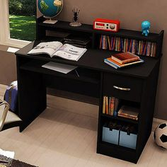 South Shore Black Smart Basics Small Desk With Optional Bookcase