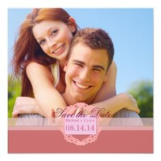 Spring pink save the date announcements