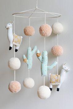 Handmade 'Llama and Cactus Nursery Mobile' Llama