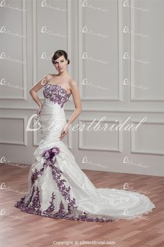 Taffeta/Organza Strapless Court Train Beading/Applique Mermaid Wedding Dress with Color