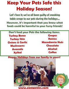 Keep your pets safe this holiday season! Here's a list of foods to avoid feeding them! #holidays #pets #safe #food #thanksgiving #dogs #family #tips