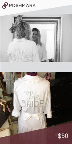 The bride robe Brand new used one on my wedding day as you can see. Perfect condition and has bling and ruffles for the bride like me that likes glamour 👸🏼 Betsey Johnson Intimates & Sleepwear Robes