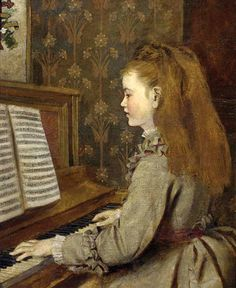 Sophie Gengembre Anderson - Portrait Of a girl seated halflength in a grey dress playing piano
