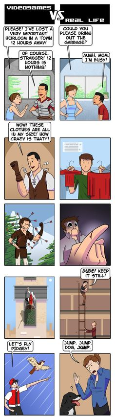 The MAJOR differences of how video games project the same tasks in real life...
