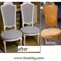 vintage chair makeover, white & grey