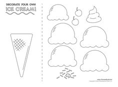 Ice cream templates and ice cream coloring pages for an ice cream party. Decorate your classroom bulletin boards with these free ice cream printables. Ice Cream Cone Craft, Ice Cream Crafts, Ice Cream Art, Ice Cream Theme, Ice Cream Template, Cone Template, Preschool Worksheets, Preschool Crafts, Crafts For Kids