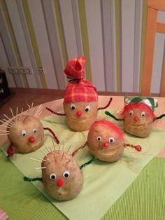 Vegetable Crafts, Vegetable Decoration, Tumblr Necklaces, Diy For Kids, Crafts For Kids, Potato Man, Cd Diy, Man Crafts, Autumn Crafts