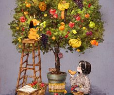 How wonderful would it be for a tree to exist that bears various types of fruit? We could taste a diverse arrangement of fruits regardless of season. Belle And Boo, Creation Photo, Types Of Fruit, Forest Girl, Cute Little Things, Korean Artist, Whimsical Art, Cute Illustration, Anime Art Girl