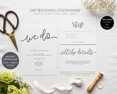 Wedding Invitation Bundle (We Do Collection) - DIY Printable Wedding Stationery Suite, Template Set, Simple to edit INSTANT DOWNLOAD by JellypressPrintables on Etsy