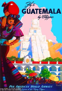 Fly-to-Guatemala-Airplane-Central-Latin-America-Travel-Advertisement-Poster