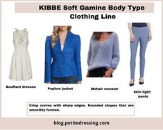 Kibbe Body Types- the Ultimate Guide Gamine Looks, Soft Gamine, Gamine Outfits, Chic Outfits, Gamine Style Clothes, Gamine Suave, Peplum Jacket, Peplum Dress, Dramatic Classic