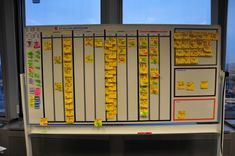 Uses super sticky notes, represents a customer demand as it flows from being submitted to deployed in production. makes bottlenecks visible