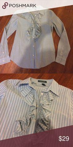 Ralph Lauren striped button down Green label. Size medium. Great shape Lauren Ralph Lauren Tops Button Down Shirts