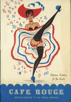 vintage Moulin Rouge Dancer   Vintage Las Vegas ~ Menu from the Moulin Rouge ...   Vintage Illustra ...