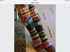 Amazing knitted socks with crochet flower detail