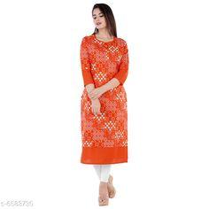 Kurtis & Kurtas Women Cotton A-line Printed Orange Kurti Fabric: Cotton Sleeve Length: Three-Quarter Sleeves Pattern: Printed Combo of: Single Sizes: S (Bust Size: 18 in Size Length: 36 in)  XL (Bust Size: 21 in Size Length: 42 in)  L (Bust Size: 20 in Size Length: 40 in)  M (Bust Size: 19 in Size Length: 38 in)  XXL (Bust Size: 22 in Size Length: 44 in) Country of Origin: India Sizes Available: S, M, L, XL, XXL   Catalog Rating: ★4 (433)  Catalog Name: Women Cotton A-line Printed Orange Kurti CatalogID_1048977 C74-SC1001 Code: 892-6583730-147