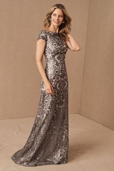 Tadashi Shoji Odette Dress by in Silver Size: Women's Dresses at Anthropologie Mother Of The Bride Dresses Long, Mother Of Bride Outfits, Mothers Dresses, Long Mothers Dress, Grooms Mother Dresses, Brides Mom Dress, Grooms Mom Dress, Mob Dresses, Fall Dresses