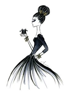 Fashion Illustration Print, Glam/Urlaub