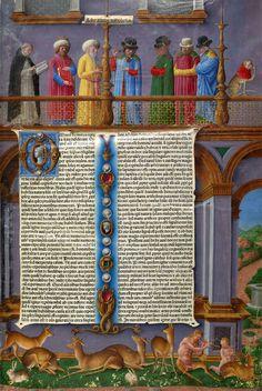 Aristotle | Opera (Works) | Printed on vellum by Andrea Torresanus and Bartolomeo de Blavis in Venice, 1483 | Opening, Volume 2: Group of Philosophers Disputing by Girolamo da Cremona | The Morgan Library & Museum
