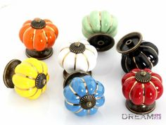 Free shipping 10pcs  pumpkin Ceramic knob for Kids/ Children,  Kitchen Ceramic Door Cabinets Cupboard knob and handles Dia 40mm $26.00