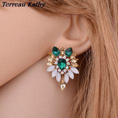 Terreau Kathy Wholesale Crystal Earring Female Bohemia Fine Jewelry Rhinestone Leaves Stud Earrings for Women