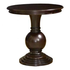 Espresso-finished end table with a pedestal design.    Product: End table Construction Material: Hardwood    ...