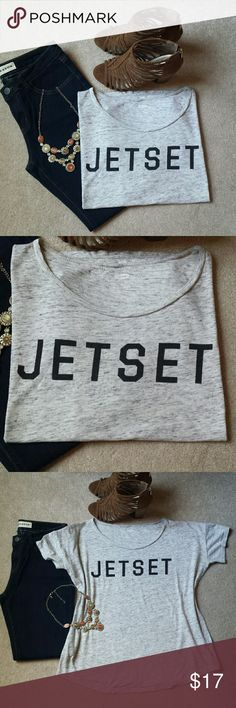"*Old Navy JETSET Tee* *Good Condition!! Perfect Posh Fest travel tee!! Logo is slightly faded but still in good condition. Very flowy.  Length: 24"", Pit-to-Pit: 23"". 60% Cotton, 40% Modal. Ask any questions. Happy Poshing!!* Old Navy Tops Tees - Short Sleeve"