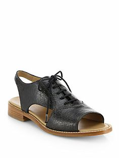 I really like these!  They were on a Pinterest You're Drunk board - but maybe that was by accident??  Marc by Marc Jacobs Crackled Leather Open-Toe Oxfords