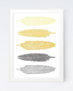 Grey Gray Yellow Feather Print Mustard and Gray by SutilDesigns