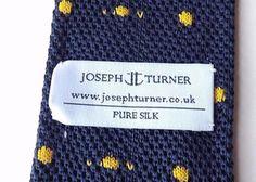 JOSEPH TURNER 100% Silk Neck Tie Knitted Dark Blue with Yellow Dots FREE P&P #JosephTurner #Tie