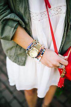 Spring Style: Urban Outfitters Dress, Isola Heels, GiGi New York Crossbody, J. Crew Utility jacket, @BaubleBar Bracelets via Glitter & Gingham