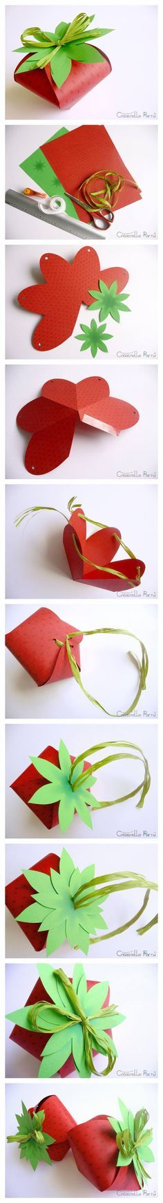 DIY strawberry box (Imprimer le modèle pdf gratuit téléchargeable ici.) translates to : Print download free pdf pattern here .