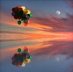 Colorful balloons float up, up and away into the beautiful sunset. |  Water reflection.