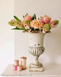 Still Life of Hyacinth, Roses and Cotton Reels | The Villa on Mount Pleasant
