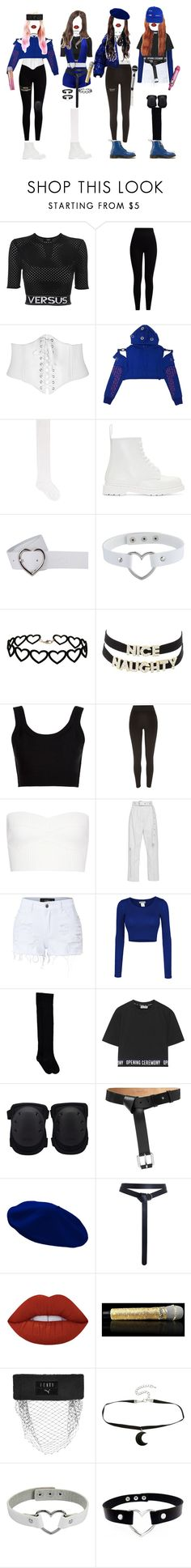 """""""[ live ] G-3 _ MY LOVE"""" by xxeucliffexx ❤ liked on Polyvore featuring Versus, Pepper & Mayne, Alessandra Rich, Dr. Martens, Miss Selfridge, Charlotte Russe, Calvin Klein Collection, River Island, Victoria Beckham and LE3NO"""