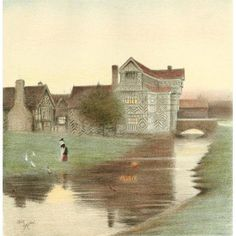 Old Manor Houses 1920 Moreton Old Hall Cheshire 2 Canvas Art - Cecil Aldin (24 x 36)