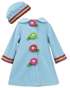 Bonnie Baby Baby Girls Fleece Coat and Hat Set Turquoise 12 Months -- Continue to the product at the image link.