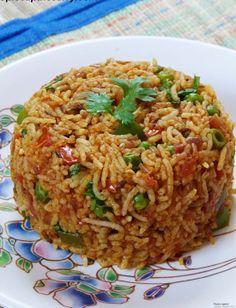 Tawa pulao recipe with step by step photos - it is popular Mumbai street food. It has flavor of pav bhaji. It is also spelled as tava pulav Vegan Indian Recipes, Veg Recipes, Asian Recipes, Vegetarian Recipes, Cooking Recipes, Recipies, One Pot Rice Meals, Pav Bhaji Masala, Veg Biryani