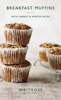 For breakfast on the go or an afternoon snack, these carrot cake muffins are flavoured with nutmeg, cinnamon and ginger. Tap for the full Waitrose & Partners recipe. Healthy Treats, Yummy Treats, Sweet Treats, Yummy Food, Tasty, Waitrose Food, Baking Recipes, Dessert Recipes, Gastronomia