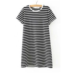 Round Neck Mono Stripes Short Sleeves Cotton T-Shirt ($16) ❤ liked on Polyvore featuring tops, t-shirts, stripe top, short sleeve t shirt, striped tee, striped cotton tee and cotton tee