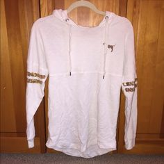 """Victoria Secret PINK Varsity Crew Victoria Secret PINK varsity crew!! Gold sequined detailing on the arms and gold sequined """"love pink"""" on the back! All sequins are on! No stains or rips! Only worn a few times! Very loose! Fits a small/medium PINK Victoria's Secret Tops"""