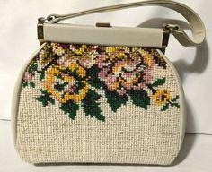 Floral Tapestry Needlepoint Handbag Purse Vintage Carpet Bag  fashion   clothing  shoes  accessories  vintage  vintageaccessories (ebay link) 9b9b5589bbf