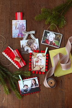 I want to do a family Christmas photo ornament  in a little frame with ribbon (like the one in the middle) for the tree every year so we can watch our family grow!