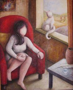 Maria Grazia Innocenti (MGI) - Malinconia - 2008 - Acrilico su tela preparata con gesso, carta e sabbia